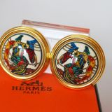 Authentic Hermes Goldtone White Enamel Clip On Earrings Box