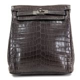 Authentic Hermes Graphite Crocodile Kelly Backpack