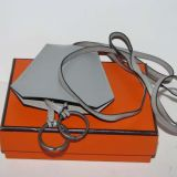 Authentic Hermes Gray Leather Clochette Excellent