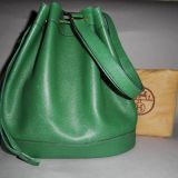 Authentic Hermes Green Drawstring Bucket Market Shoulder Bag Rare