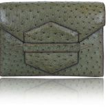 Authentic Hermes Green Ostrich Clutch Bag Rare Vintage