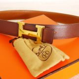 Authentic Hermes H Logo Reversible Belt Brown Gold Courchevel 68