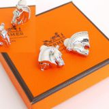 Authentic Hermes Horse Logo Earrings Silver