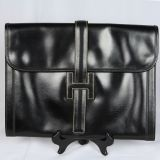 Authentic Hermes Jije GM Black Box Calf Leather Bag