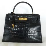 Authentic Hermes Kelly 28 Cm Croc Shiny Porosus Gold Hw Two Tone