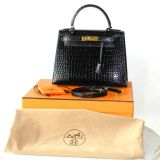 Authentic Hermes Kelly 28 Cm Crocodile Shiny Porosus Gold Hw