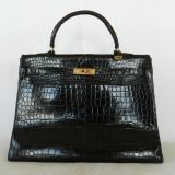Authentic Hermes Kelly 35cm Porosus Croc Leather Ghw Handbag