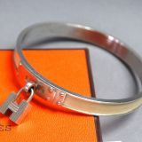 Authentic Hermes Kelly Bangle Bracelet Beige Leather Silvertone
