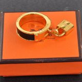 Authentic Hermes Kelly Gold Tone X Black Scarf Ring H320