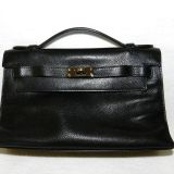 Authentic Hermes Kelly Pochette Black Evergrain Ruthenium Hw