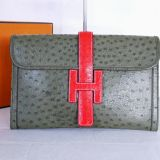 Authentic Hermes Moss Green Red Ostrich Jige Clutch Bag Rare