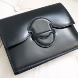 Authentic Hermes Navy Blue Box Calf Clutch Bag Vintage Rare