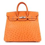 Authentic Hermes Orange Ostrich 32 Cm Hac Birkin
