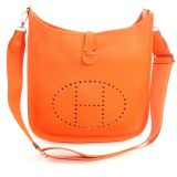 Authentic Hermes Orange Evelyne GM Cross Body Bag