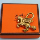 Authentic Hermes Pegasus Goldtone Cadena Lock Charm 1993 W Box