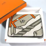 Authentic Hermes Quadrige Steeple Wallet Toile H Gris Tourterelle
