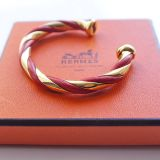 Authentic Hermes Red Leather K18 Yellow Gold Twist Bangle Rare