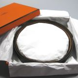 Authentic Hermes Reversable Black Gold Box Togo Leather Belt Sz 105