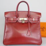 Authentic Hermes Rouge Box Calf Haute A Courroies Birkin Hac32