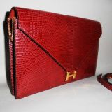 Authentic Hermes Rouge H Red Lizard Sac Lydie Clutch Shoulder Bag