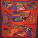 Authentic Hermes Scarf 90x90cm Fluide Jersey Prune rouge violet