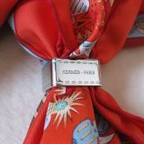 Authentic Hermes Scarf Ring Bolduc Palladium