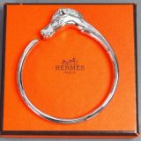 Authentic Hermes Silver Color Horse Head Cuff Bangle Bracelet