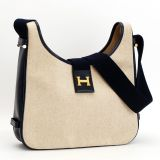 Authentic Hermes Toile H Calf Vintage Shoulder Bag