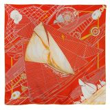Authentic Hermes Tuiga Yacht Builder Orange Silk Scarf 35 quotBox