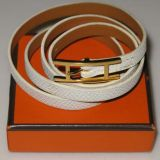 Authentic Hermes White Leather Bracelet Gold H Logo Long