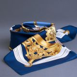 Authentic New Hermes Vintage Blue Etriers Silk Scarf