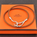Authentic Silver Hermes Leather Long Wrap Bracelet With Box H316