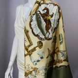Authentic Vintage Hermes Silk Scarf Copeaux By Caty Latham Excl