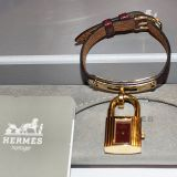 Bnib With Pouch Hermes Burgandy brown Leather Bracelet Watch
