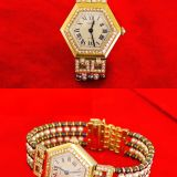 Cartier K18 Diamond Bezel Hexagon Watch Pearl Strap 27000