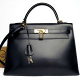 Hermes 28cm Black Kelly Bag In Box Calf Leather