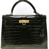 Hermes 32 Cm Black Niloticus Crocodile Ghw Kelly Bag