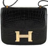 Hermes Black Crocodile Alligator Constance W diamonds Bag