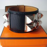 Hermes Black Lizard Cdc Collier De Chien Bracelet Phw Authentic Nib