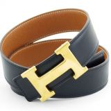 Hermes Black Brown Reversable Gold H Buckle Belt