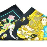 Hermes Blue Cathy Latham India Black Silk Scarf 90cm Square