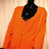Hermes Bright Orange Viscose Twin Sweater Set Size 46 New