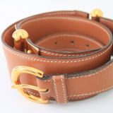 Hermes Camel Leather Belt W Golden Hardware