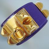 Hermes Cdc Collier De Chien Crocus Purple Bracelet Gold New Auth