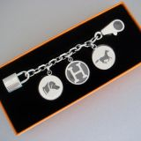 Hermes Charm For Birkin Kelly Silver Berloque Key Chain Nib Auth