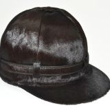 Hermes Chocolate Brown Calf Hair Jockey Style Equestrian Hat 56