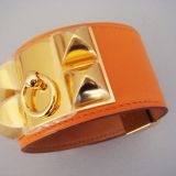 Hermes Collier De Chien Orange Cdc Bracelet Ghw Gold Nib Auth