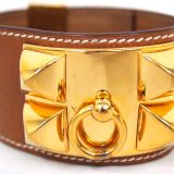 Hermes Collier De Chien Wide Bangle Bracelet Studs Tan Beige