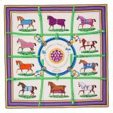 Hermes Couverture Shawl Vert Violet GM 140 Scarf Wrap New Auth