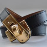 Hermes Double Tour Bracelet Black Chamonix With Gold Hardware S